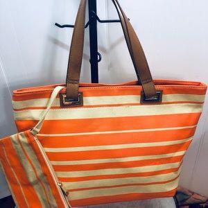 Saks fifth avenue Gray Handbag and Wristlet
